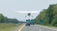 セスナが高速道路に不時着した瞬間を捉えた動画