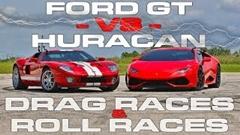720馬力 フォードGT vs 610馬力 ランボルギーニ ウラカンLP610-4 加速対決動画