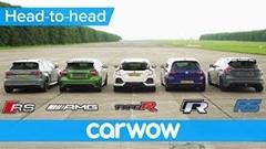 ホンダ シビック タイプR vs アウディ RS 3 vs メルセデス A45 AMG vs フォルクスワーゲン ゴルフ R vs フォード フォーカス RS 同時ドラッグレース動画