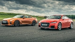 日産 GT-R vs アウディ TT RS ドラッグレース加速対決動画