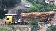 狭い橋を渡る丸太運搬トラックの達人動画