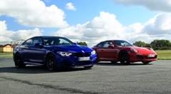 BMW M4 CS vs ポルシェ 991 GTS 0-1000m加速対決動画