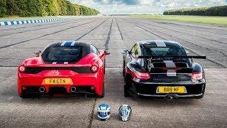 フェラーリ 458 スペチアーレ vs ポルシェ 997 GT3 RS 4.0 加速対決動画
