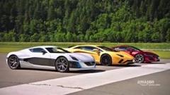 リマック コンセプト・ワン vs ホンダ NSX vs ランボルギーニ アヴェンタドールS ドラッグレース動画