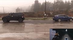 テスラ モデルX P90D vs ハマー H2 綱引き対決動画