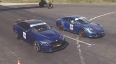 BMW M4 CS vs ポルシェ 991 GTS ゼロヨン対決動画