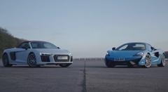 アウディ R8 V10 Plus スパイダー vs マクラーレン 570S スパイダー 加速対決動画