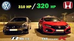 ホンダ シビック タイプR vs フォルクスワーゲン ゴルフR 高速道路加速対決動画