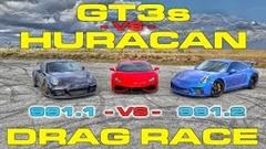 ポルシェ 991.1 GT3 vs 991.2 GT3 vs ランボルギーニ ウラカン 加速対決動画