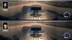 レーサー vs ゲーマー 俯瞰視点の実車マスタングで対決しちゃう動画