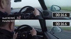 アウディ R8 RWS vs ポルシェ 991 GT3 ウェット路面サーキット比較動画