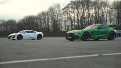 ホンダ NSX vs メルセデス AMG GT R ドラッグレース動画