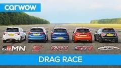 ポロ GTI vs フィエスタ ST vs ヴィッツ GRMN vs ミニ JCW vs 208 GTI 加速対決動画