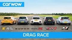 シビック タイプR vs i30N vs メガーヌRS vs クプラR vs 308 GTi ドラッグレース対決動画