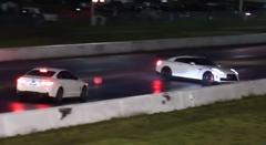 日産 GT-R がドラッグレースでクラッシュしちゃう動画