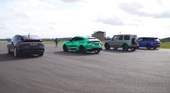 ランボルギーニ ウルス vs テスラ モデルX vs AMG G63 vs レンジローバー スポーツ SVR ゼロヨン加速対決動画
