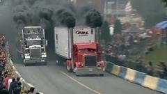 セミトラックのド迫力ドラッグレース動画