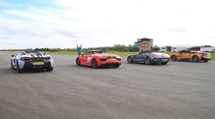AMG GT C vs アウディ R8 V10 スパイダー vs マクラーレン 570S スパイダー vs BMW i8 ロードスター オープンカー加速対決動画