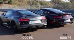 1000馬力のポルシェ 9ff とアウディ R8 V10 の0-300km/h動画