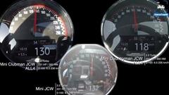 ミニ JCW vs クラブマン JCW vs クロスオーバー JCW 0-200km/hメーター比較動画