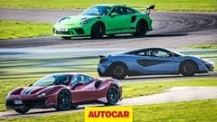 フェラーリ 488 ピスタ vs マクラーレン 600LT vs ポルシェ 991 GT3 RS サーキットタイムアタック動画
