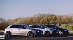ホンダ シビック TYPE R vs AMG A35 vs ゴルフ R ドラッグレース動画