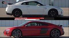 日産 GT-R トラックエディション vs アウディ R8 V10 パフォーマンス 加速対決動画