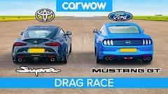ライトチューントヨタ スープラ vs フォード マスタングGT 加速対決動画