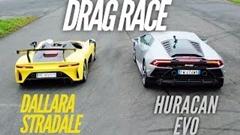 ダラーラ ストラダーレ vs ランボルギーニ ウラカン EVO 0-1000m ドラッグレース動画