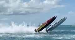 パワーボートレースで2台同時にバックフリップクラッシュ!