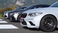 AMG A45 S vs アウディ RS3 vs BMW M2 コンペティション ドラッグレース動画