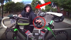 白昼堂々走行中の車から自転車を盗もうとするチャリンカー