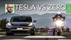 テスラ モデル3 vs ZERO SR/F 電動車 vs 電動バイクドラッグレース動画