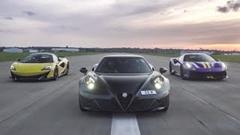フェラーリ 488 ピスタ vs マクラーレン 600LT vs アルファロメオ 4C 加速対決動画