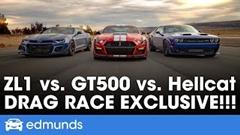 シェルビー GT500 vs ヘルキャット レッドアイ vs カマロ ZL1 1LE ドラッグレース動画