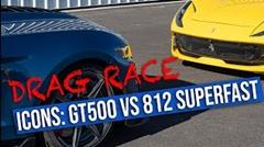 フォード マスタング GT500 vs フェラーリ 812 スーパーファスト ドラッグレース動画