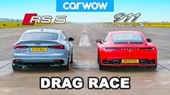 アウディ RS5 スポーツバック vs ポルシェ 992 カレラS ドラッグレース動画