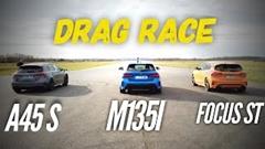 メルセデス A45S AMG vs BMW M135i vs フォード フォーカス ST ゼロセン加速対決動画