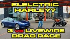 ハーレー ライブワイヤー vs テスラ モデル3 ゼロヨン対決動画