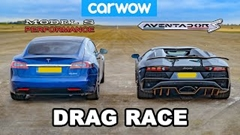ランボルギーニ アヴェンタドール S ロードスター vs テスラ モデルS パフォーマンス ドラッグレース動画