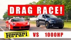 1000馬力ジープ グランドチェロキートラックホーク vs フェラーリ 488 GTB 加速対決動画
