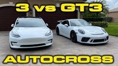 ポルシェ 991.2 GT3 vs テスラ モデル3 パフォーマンス オートクロス対決動画