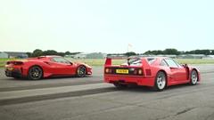 フェラーリ F40 vs 488 ピスタ ドラッグレース動画
