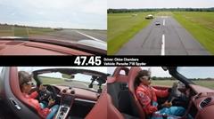 ポルシェ 718 スパイダー&16歳女子カートレーサー スラロームギネス世界新記録を達成