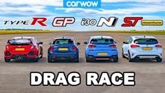 ホンダ シビック TYPE R vs ミニ JCW GP vs ヒュンダイ i30N vs フォード フォーカス ST ドラッグレース動画