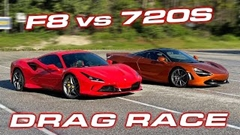 フェラーリ F8 トリブート vs マクラーレン720S ドラッグレース動画