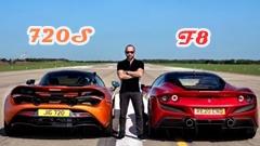 フェラーリ F8 トリブート vs マクラーレン 720S ドラッグレース動画