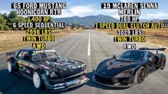 ケン・ブロックの1400馬力フォード マスタング vs マクラーレン セナ ドラッグレース動画