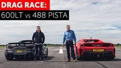 フェラーリ 488 ピスタ スパイダー vs マクラーレン 600LT ドラッグレース動画