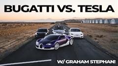 ブガッティ ヴェイロン vs テスラ モデルS、モデルX、モデル3 加速対決動画